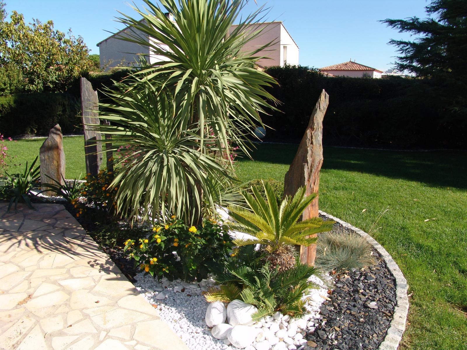 Massif Galet Blanc Et Ardoise paillage / minéraux - vert parc, créateur de jardins
